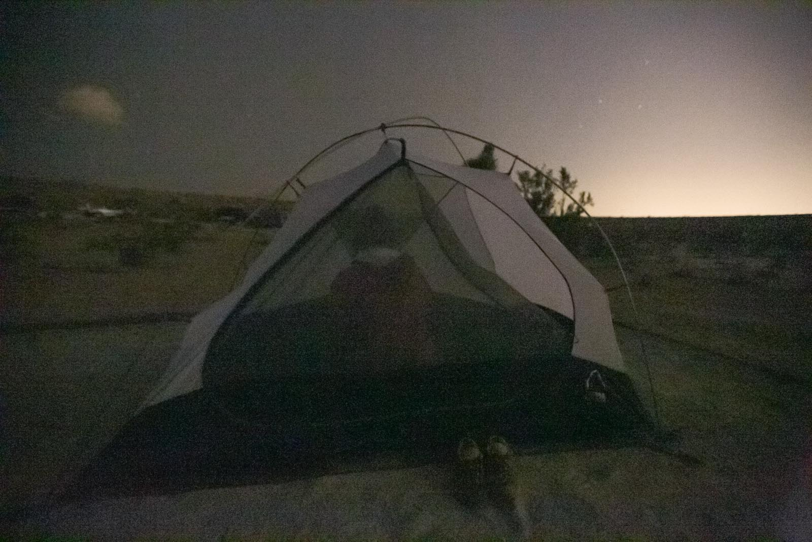 The tent didn't fare so well with the 50+ mph winds. Once it folded on our faces we figured it was time to take it down.