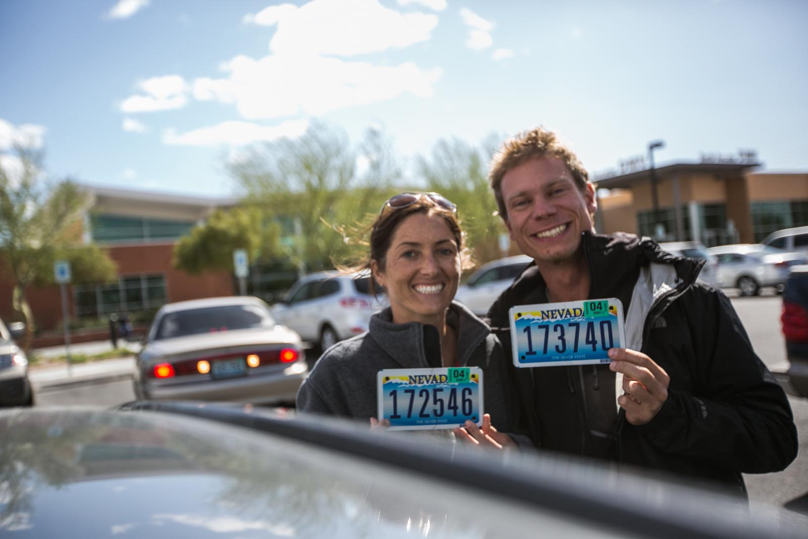 Proud new owners of two Nevada license plates -- woot!