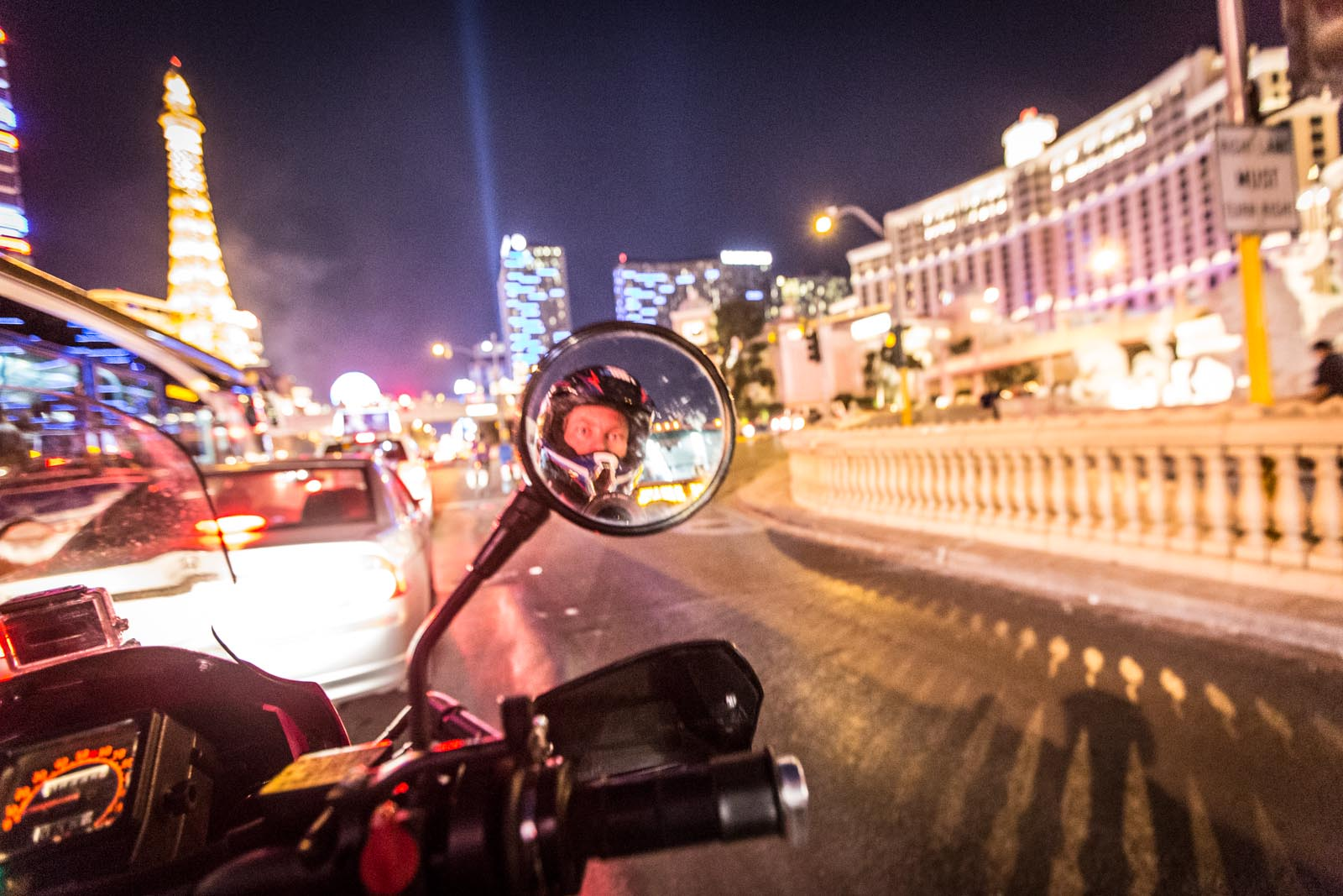 Being stuck in traffic is awesome if it's Vegas and you're on a KLR.