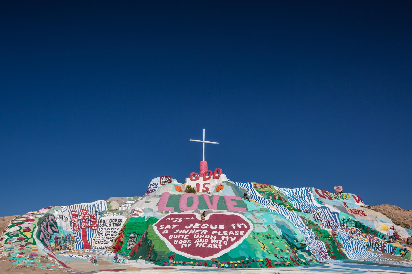 Salvation mountain, a spash of color in an otherwise very drab landscape.
