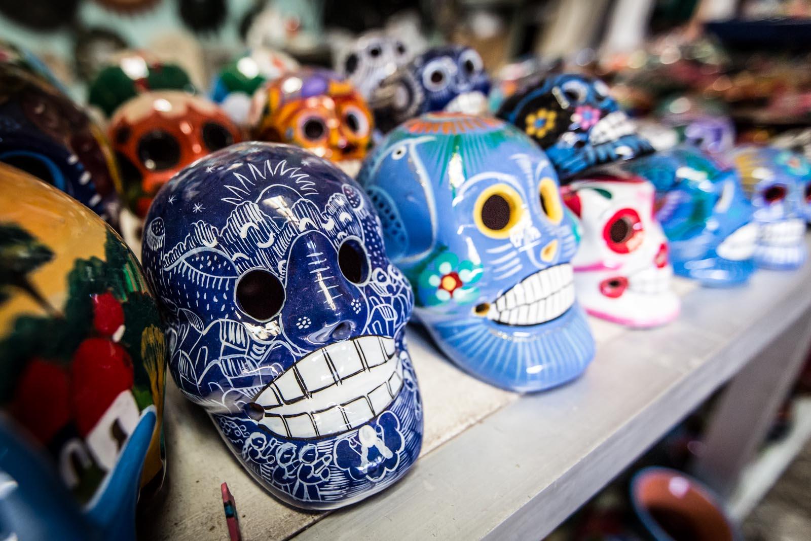 Ceramic skulls are always popular in the street market.
