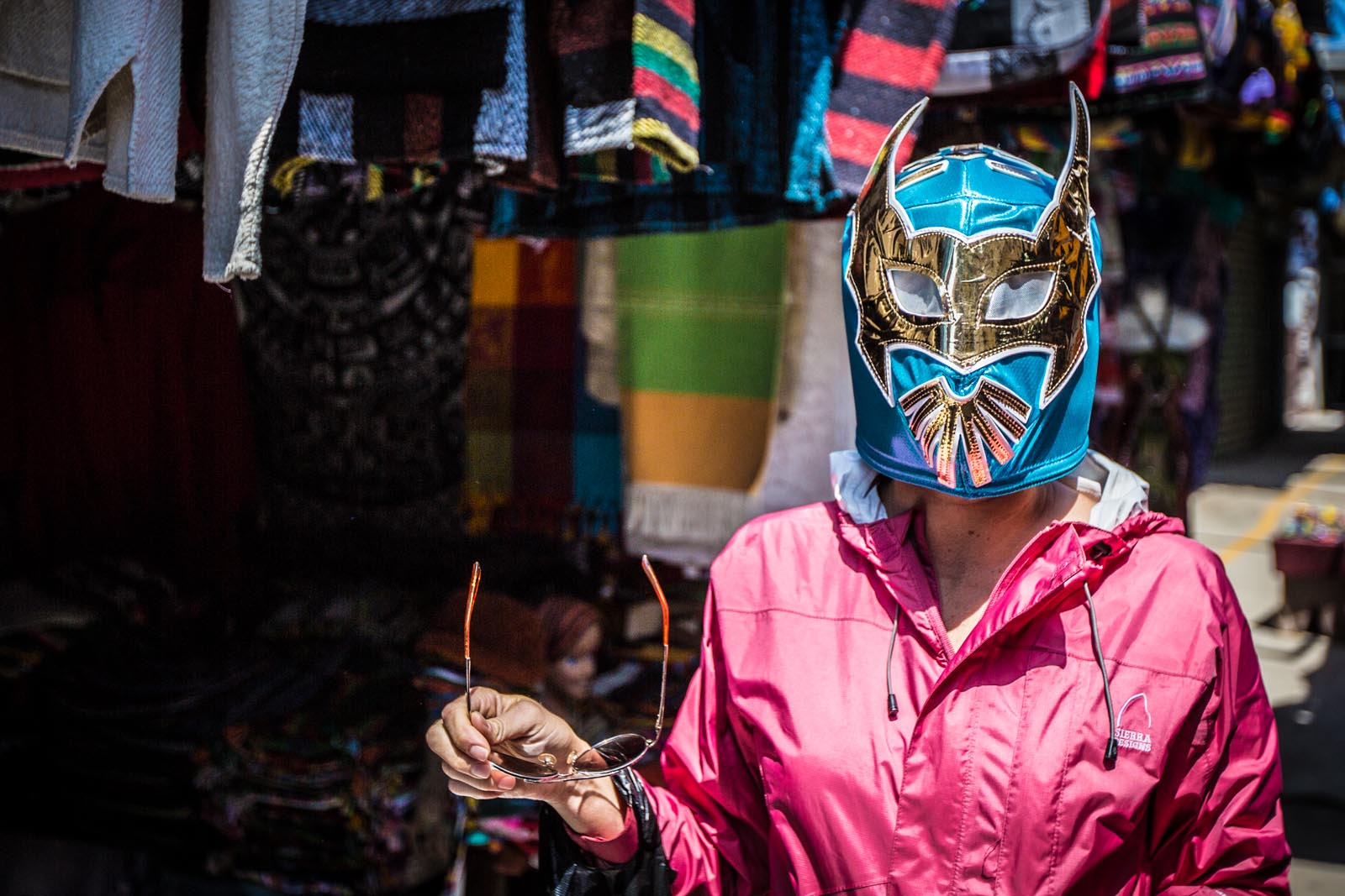 Quanto questa por la luchadora mask? The clerk here really wanted to make her lucky first sale of the day on this lovely luchadora mask at only $10. What a steal!