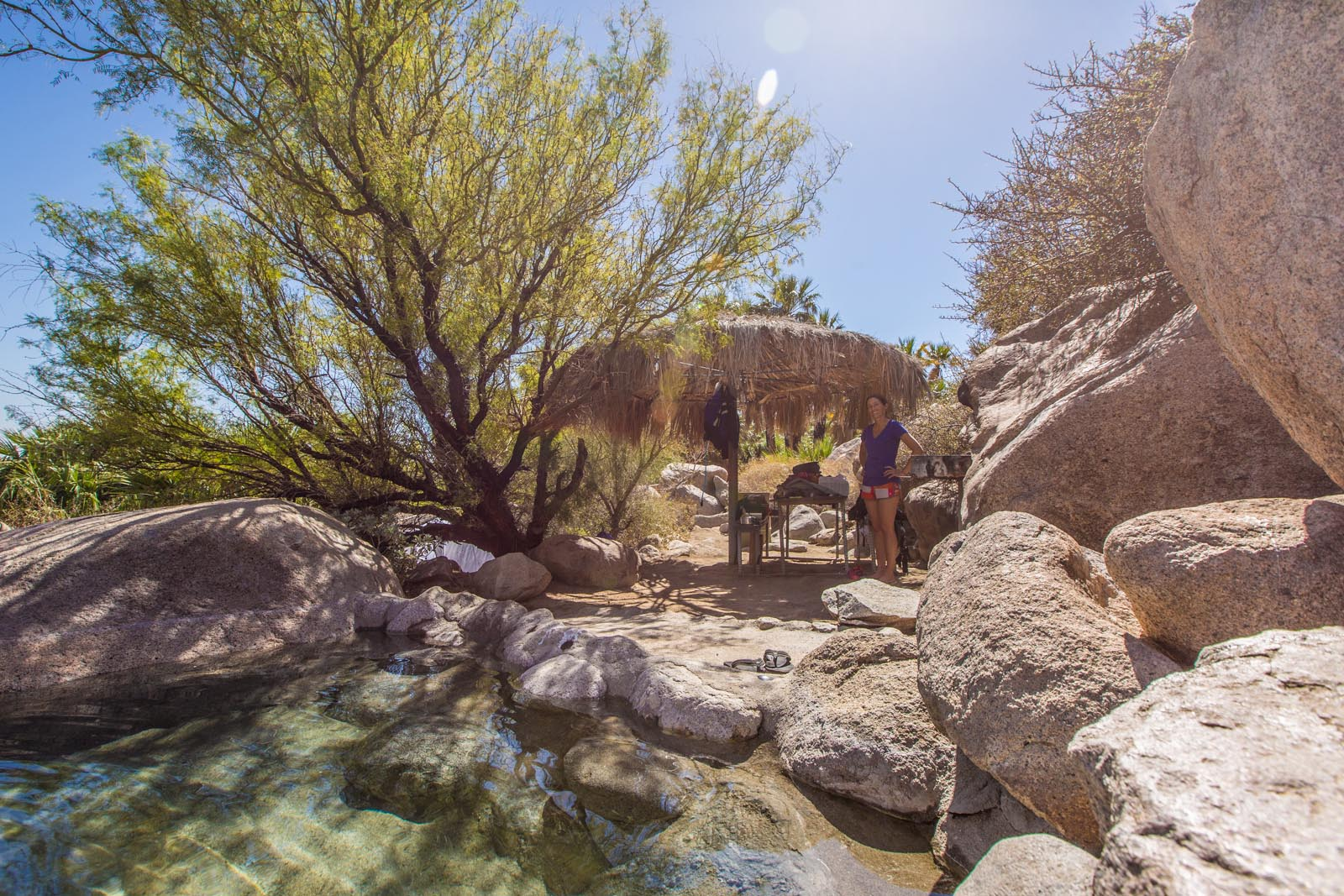 """This is our very own private hot springs tub at Guadalupe Canyon Oasis. It was the ultimate payoff for an """"adventurous"""" ride. We barely made it before 10pm and only beacuse Andrew rode on ahead to drop some gear off to lighten my bike."""