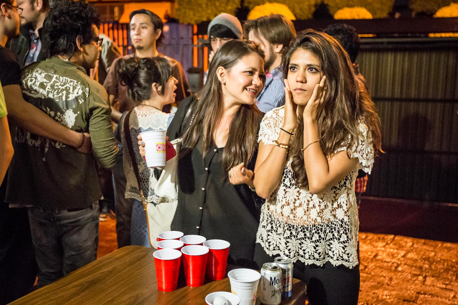 "Beer pong using ""Agua Loco"". At least they don't use tequila to fill the cups..."