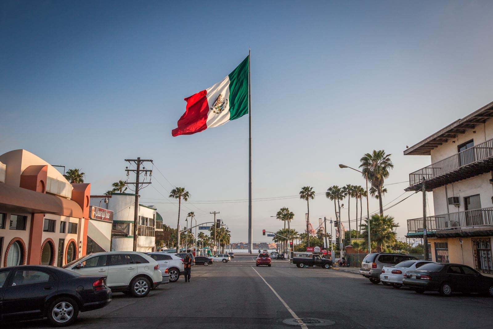 Here is a giant flag in downtown Ensenada -- just in case the tourists fresh off the boat forgot they've arrived in Mexico.