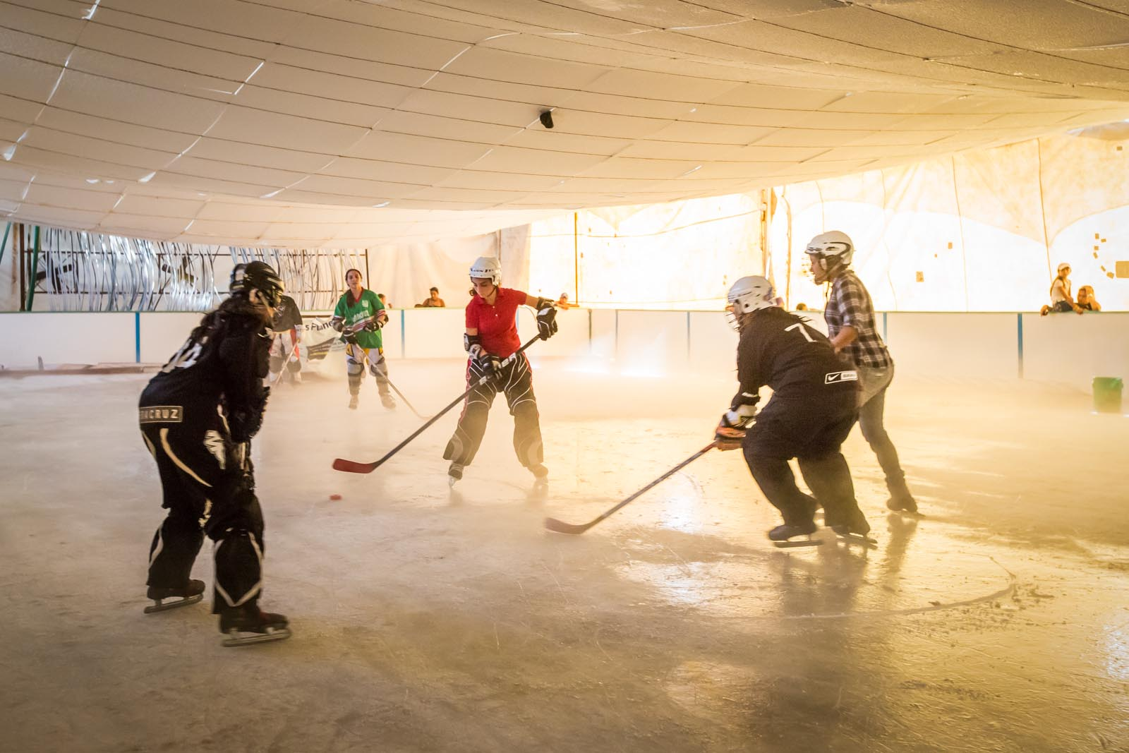 Only in Mexico will you find yourself inside a giant styrofoam cooler where  people can play ice hockey at the Veracruz State Fair.