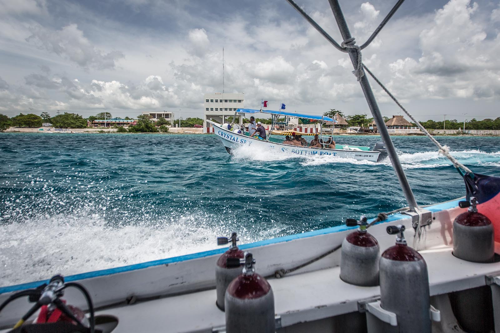 Racing the glass bottom boat back from the dive sites.