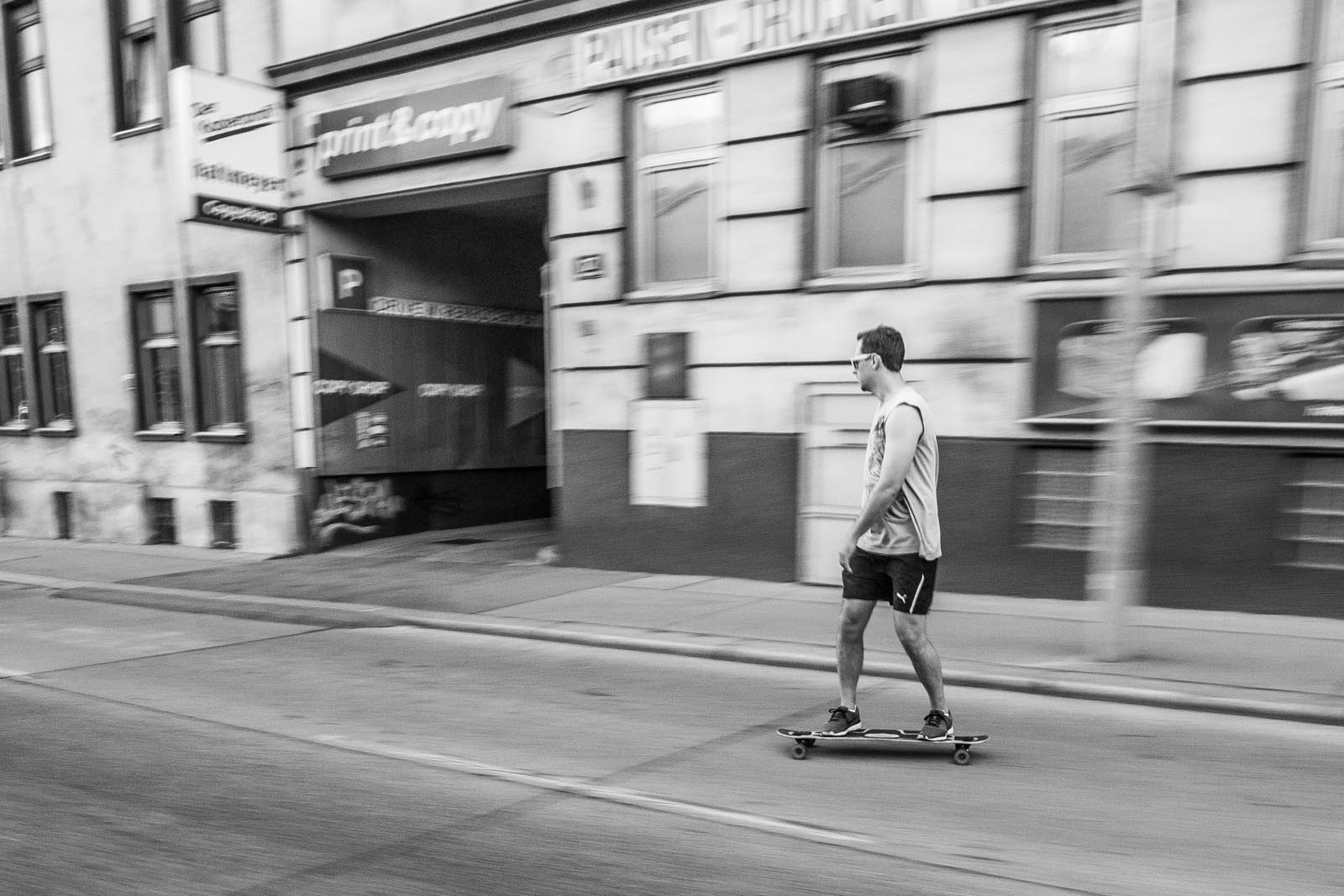 Rene, keeping pace on his longboard during the downhill parts.